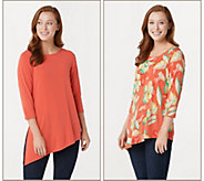 Susan Graver Print & Solid Set of 2 Liquid Knit Tops - A263009