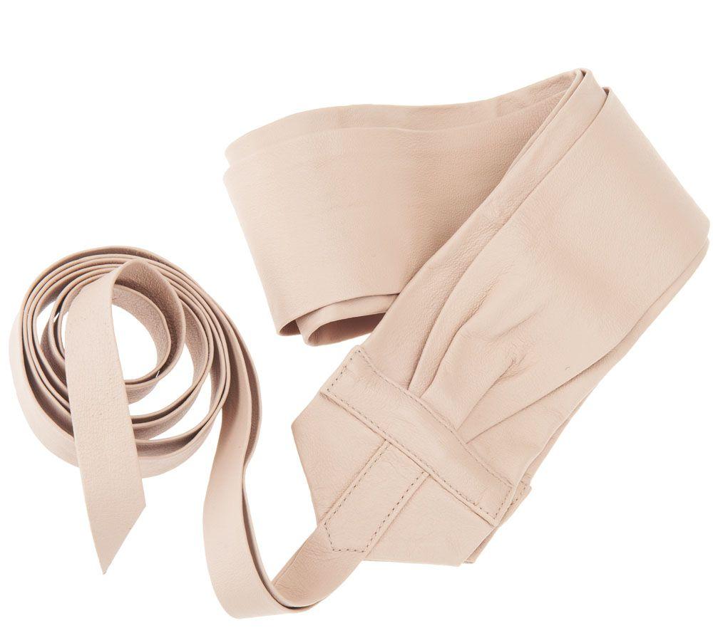 G I L I Leather Obi Wrap Belt Page 1 Qvc Com