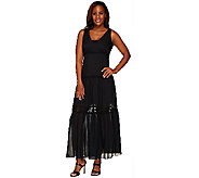 G.I.L.I. Regular Silk Tiered Lace Trim Maxi Dress - A264109