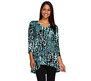 Linea by Louis DellOlio Printed Asymmetrical Hem Tunic Top - A265609