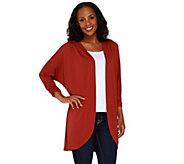 Susan Graver Premier Knit Dolman Sleeve Open Front Cardigan - A268009