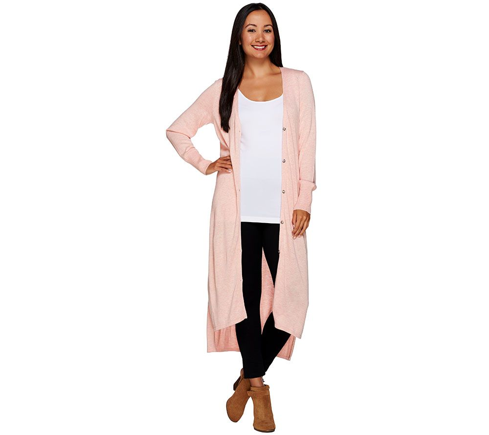 H by Halston Regular V-neck Button Front Long Cardigan - Page 1 ...
