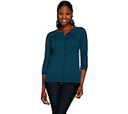 H by Halston Silk-Cashmere Blend Crew Neck Button Front Cardigan - A269409