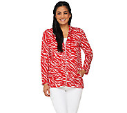 As Is Susan Graver Printed French Terry Zip Front Long Sleeve Jacket - A270209