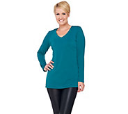 Susan Graver Passport Knit Long Sleeve V-neck Tunic - A270309