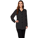 Joan Rivers Sweetheart Print Silky Boyfriend Shirt - A273909