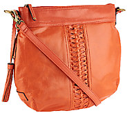 As Is Tignanello Distressed Leather Braided Convertible Bag - A274209