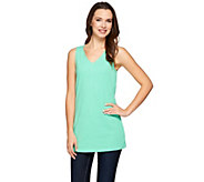 Denim & Co. Essentials Jersey V-neck Tank with Seaming Detail - A274309