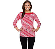 Susan Graver Printed Liquid Knit 3/4 Sleeve Bateau Neck Top - A274509