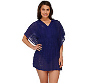 As Is Denim & Co. Beach Mesh Lace Butterfly Sleeve Tunic Cover-Up - A274709