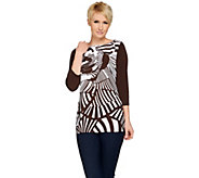 Susan Graver Printed Woven Tunic with Solid Liquid Knit Back - A275209