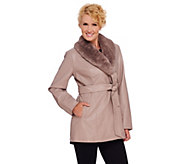 As Is Dennis Basso Faux Leather Coat w/ Removable Faux Fur Collar - A277409