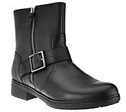 As Is Clarks Leather Ankle Boots with Buckle - Merrian Lynn - A277709