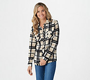 Denim & Co. Heavenly Jersey Plaid Printed Button Front Shirt - A282209