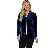 Susan Graver Stretch Velvet Cardigan with Beaded Tassels - A282909