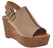 As Is Marc Fisher Leather Open-toe Cork Wedges - Sinthya - A286509