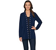 Susan Graver Liquid Knit Cardigan with Grommet Trim - A286709