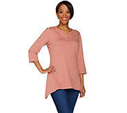 As Is Denim & Co. 3/4 Sleeve Henley Top with Trapeze Hem - A287909