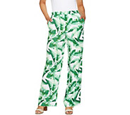 C. Wonder Petite Tropical Palm Print Pull-On Full Leg Pants - A289709