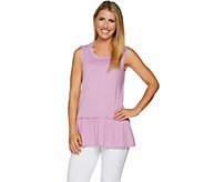 LOGO by Lori Goldstein Cotton Modal Knit Tank with Peplum Hem - A290509