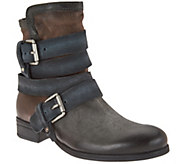 As Is Miz Mooz Leather Mid-Calf Boots with Buckle Detail - Slater - A290709