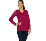 Susan Graver Stretch Lace V-Neck Long Sleeve Top - A293609