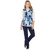 As Is Denim & Co. Active Petite Pants and Printed Vest Set - A294809