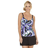 As Is Ocean Dream Signature Modern Paisley Empire Tankini Top - A295409
