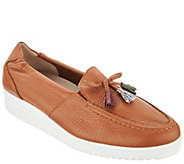 Vitaform Leather Low Wedge Loafers with Tassel - A300309