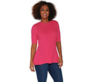 Isaac Mizrahi Live! Elbow Sleeve Mixed Stitch Peplum Sweater - A305209