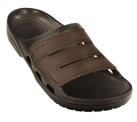 Crocs Men S Yukon Leather Slide Sandals A333509 Qvc Com