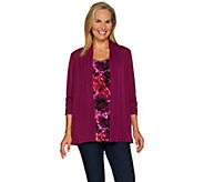 Susan Graver Liquid Knit Roll Tab Sleeve Cardigan & Tank Set - A225110