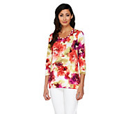 Susan Graver Stretch Knit Top with Braided Trim Scoop Neck - A231510