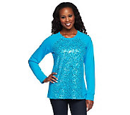 Quacker Factory Sparkle Sequin Sweatshirt Top - A234610