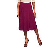 Susan Graver Essentials Solid Heavy Liquid Knit Six Gore Skirt - A235310