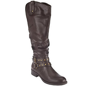 White Mountain Riding Boots with Strap & Stud Details - Lexi