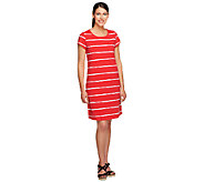 Isaac Mizrahi Live! Short Sleeve Striped T-Shirt Dress - A254410