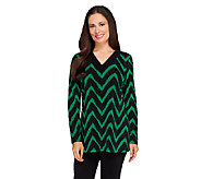 Susan Graver Printed Liquid Knit Long Sleeve V-Neck Top - A258610