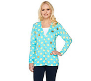 Quacker Factory Polka Dot and Sequin V-neck Cardigan - A261710