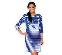 Liz Claiborne New York Petite Printed Stripe Knit Dress - A262110