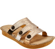 Alegria Leather Slip-on Sandals w/ Strap Details -Venice