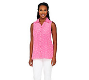 Susan Graver Printed Woven Sleeveless Button Front Shirt - A263810