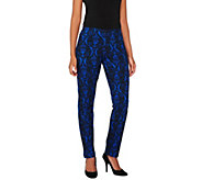 Women with Control Petite Brocade Print Slim Leg Pants - A269610