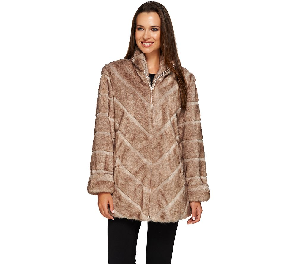 Dennis Basso Platinum Collection Grooved Faux Mink Coat - Page 1 ...
