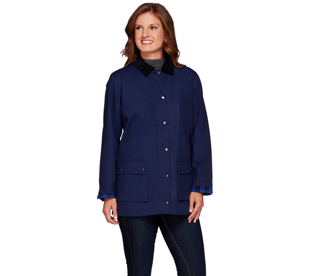 Denim & Co. Water Resistant Utility Jacket with Flannel Trim