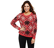 Bethany Mota Knit Snowflake Sweater with Sequin Detail - A273810