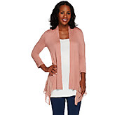 As Is LOGO by Lori Goldstein Regular Knit Cardigan with Pleated Chiffon - A274010