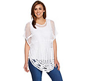 Denim & Co. Novelty Stitch Poncho with Knit Tank - A277910
