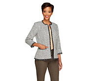 As Is Joan Rivers Tweed Jacket with Pockets and 3/4 Sleeves - A282710