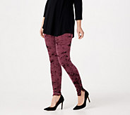 LOGO by Lori Goldstein Panne Velvet Leggings with Zipper Detail - A283010